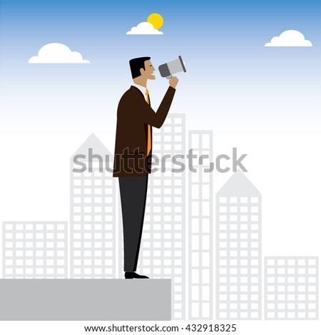 businessman or executive making an announcement - vector graphic. this also represents advertising, warning, announce, speaking, shouting, calling, announcing through megaphone, announcing alarm, warn - stock vector