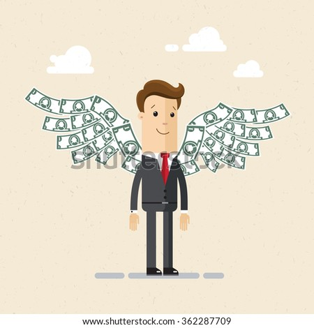 Businessman or manager.  A man in a suit with wings made of money behind his back.  Illustration, vector, EPS10 - stock vector