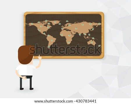 businessman or manager look and pointing finger marks on the world map. concept of network business or franchise - stock vector