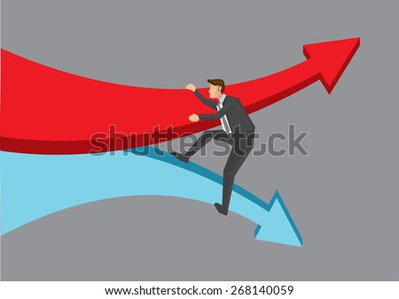 Businessman overcoming the tide of change represented by two huge diverging arrows. Conceptual vector illustration for idiom isolated on grey background.