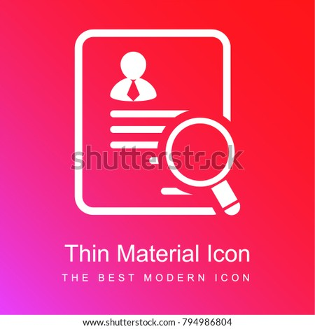 businessman paper of the application for a job red and pink gradient material white icon minimal