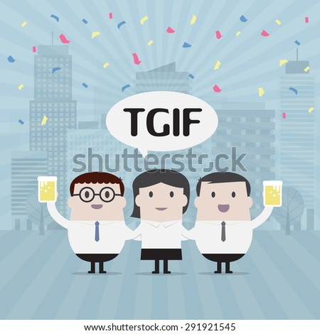 Businessman party on Friday - Vector - stock vector