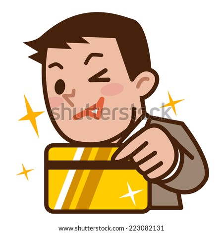 Businessman pays in gold card - stock vector