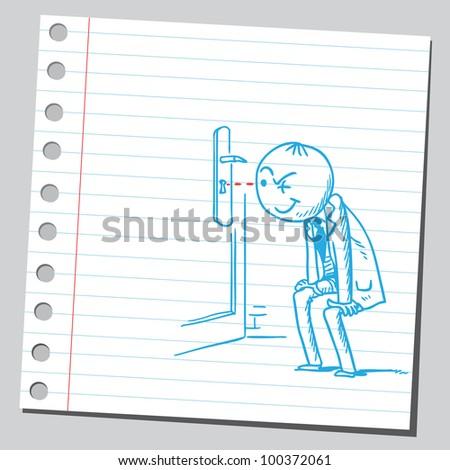 Businessman peeking through a keyhole - stock vector