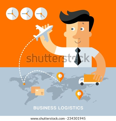 Businessman planning route for delivery of goods. business logistics illustration - stock vector