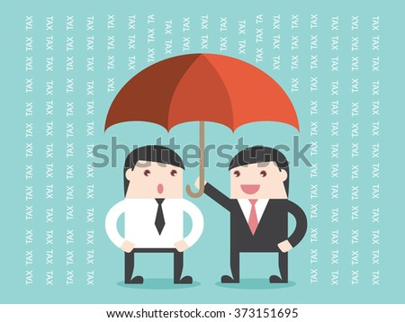 Businessman planning TAX like umbrella protect the rain. Flat design for business financial marketing banking advertisement office people life property stock fund in concept cartoon illustration. - stock vector