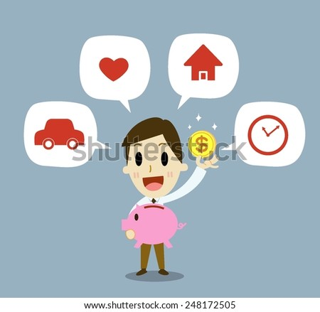 Businessman planning to save money for good future, - stock vector