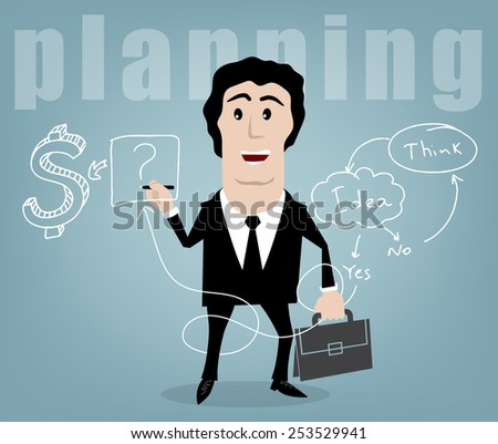 businessman plans to challenge the marker on the board - stock vector