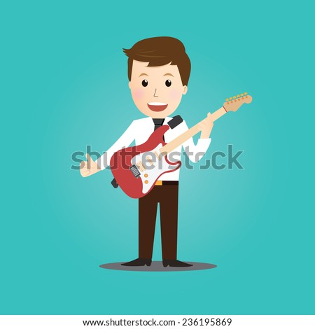 Businessman play guitar - stock vector