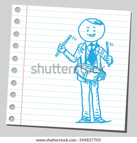 Businessman playing drum - stock vector