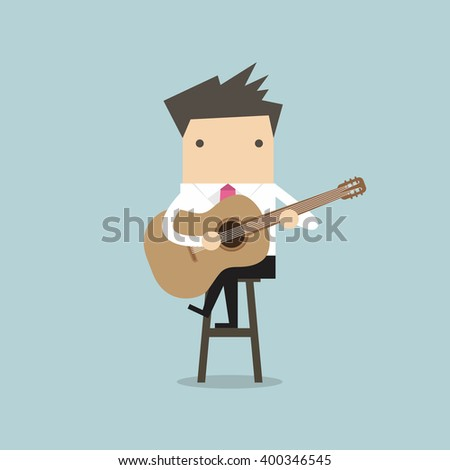 Businessman playing guitar vector - stock vector