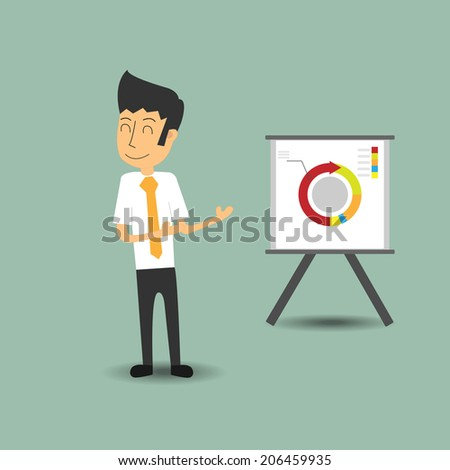 businessman pointing at a board at a presentation - stock vector