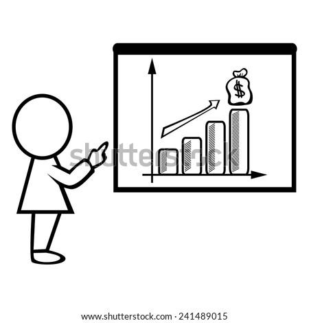 Businessman pointing at a board at presentation - stock vector