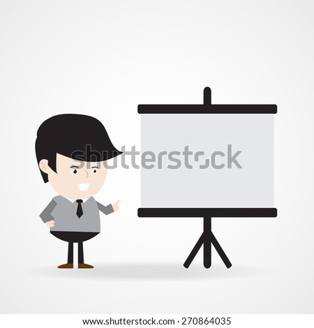 Businessman pointing at  blank presentation board for your copy space or design, business presentation concept . Vector EPS 10.  - stock vector