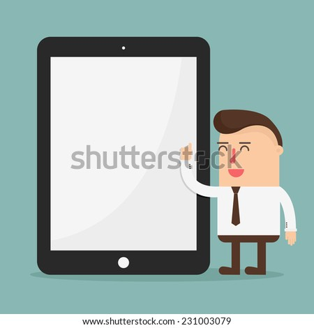 Businessman pointing to blank screen of a tablet - stock vector