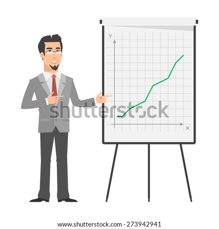 Businessman points on flip-chart - stock vector