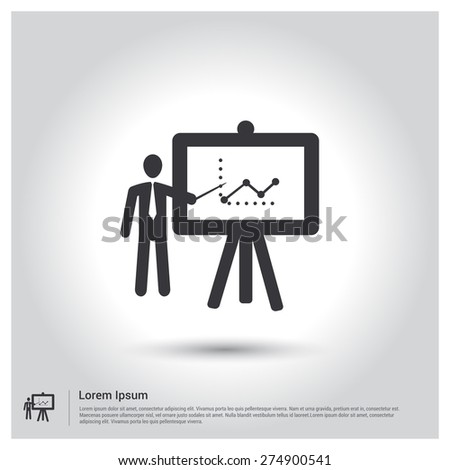 businessman preseniting, businessman pointing at a board at a presentation Icon - stock vector