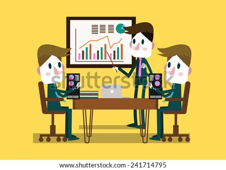 Businessman present business plan in a conference room. flat design. vector illustration - stock vector