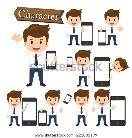 Businessman present phone character set vector  - stock vector