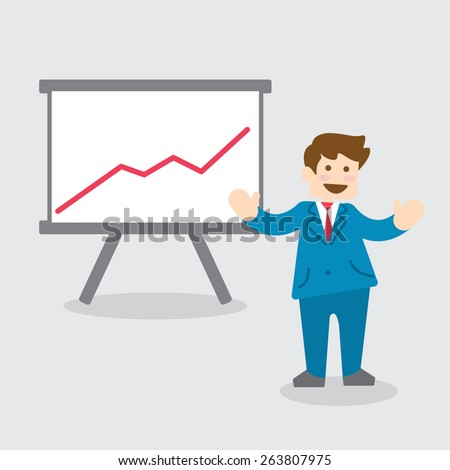 businessman presentating chart graph, presentation screen