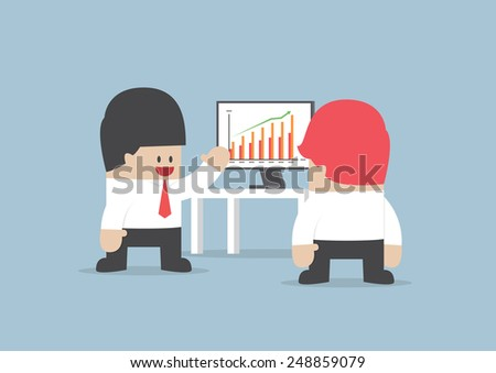 Businessman presentation growth chart on monitor, VECTOR, EPS10 - stock vector