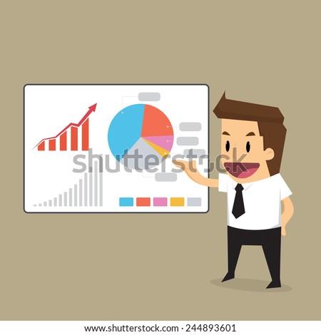 businessman presentation to graph.vector - stock vector