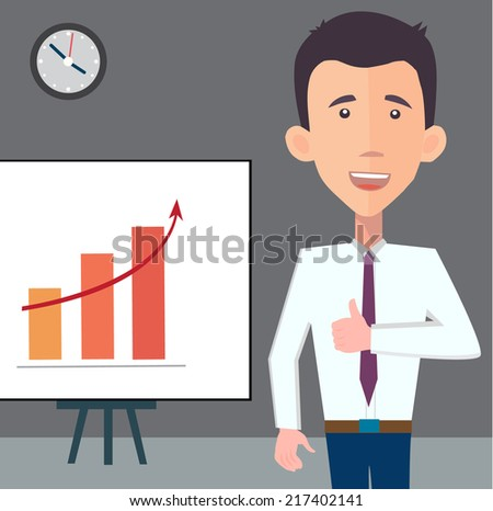 businessman presenting a chart - flat design vector  - stock vector