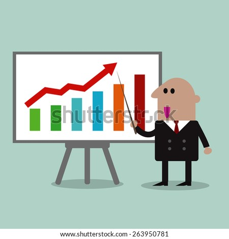 businessman presenting company profits on a whiteboard - stock vector