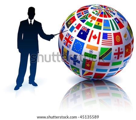 Businessman Presenting Flags Globe Original Vector Illustration - stock vector
