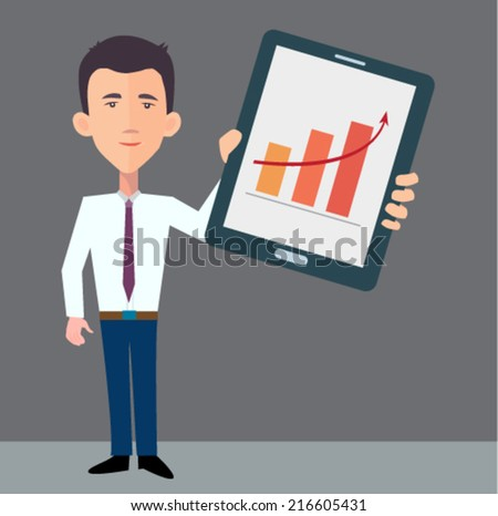 businessman presenting information on the tablet pc  - stock vector