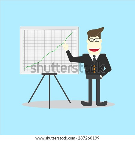 businessman presenting on flipchart
