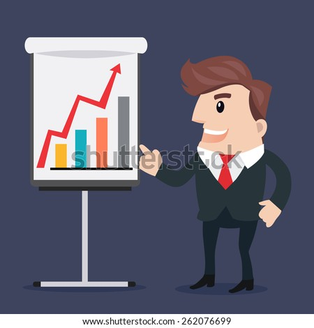 Businessman presenting.- vector illustration - stock vector