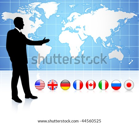 Businessman presenting world map with internet flag buttons Original Vector Illustration - stock vector