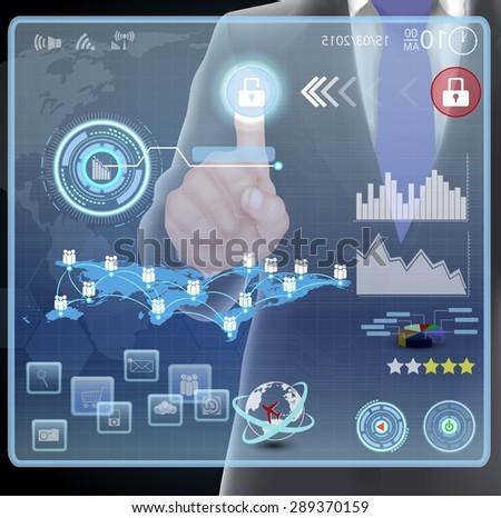 Businessman presses interface. vector - stock vector
