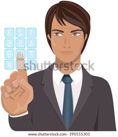 Businessman pressing key of clear touch screen keypad isolated