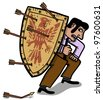 businessman protecting itself with medieval shield - stock vector