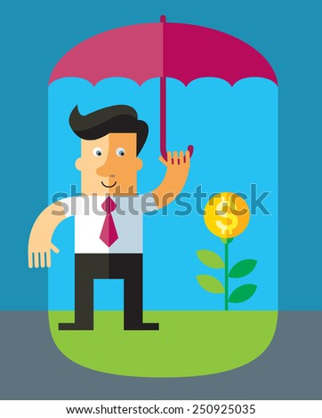 businessman protecting money under umbrella. Vector flat business illustration - stock vector