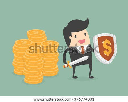 Businessman Protecting Money With Shield And Sword. Business Concept Cartoon Illustration.