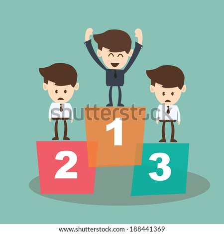 Businessman proudly standing on the winners podium - stock vector