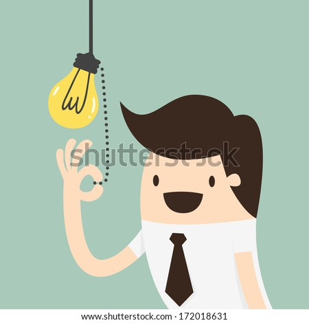 Businessman pulling light switch, Idea concept - stock vector