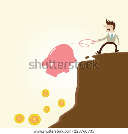Businessman pulling piggy bank from edge of fiscal cliff.Vintage cartoon business vector design. - stock vector