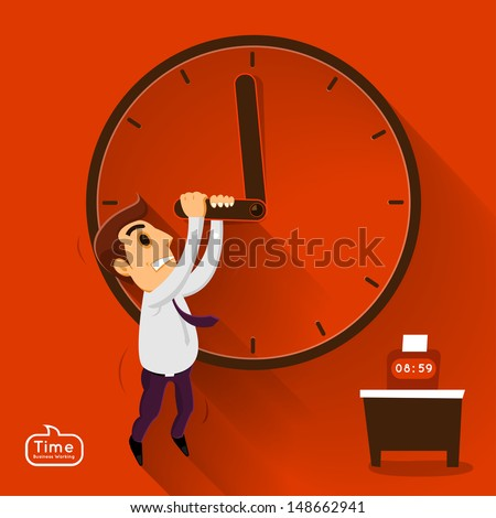 Businessman push time in working in vector story - stock vector