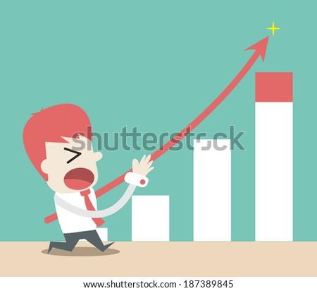 Businessman push up the graph ,Vector cartoon business - stock vector