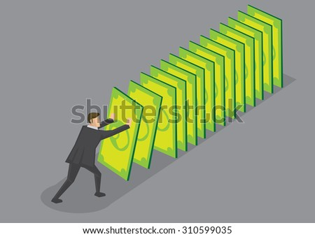 Businessman pushing money cards setting off falling chain reaction. Creative vector cartoon illustration for financial and currency crisis metaphor isolated on grey background. - stock vector