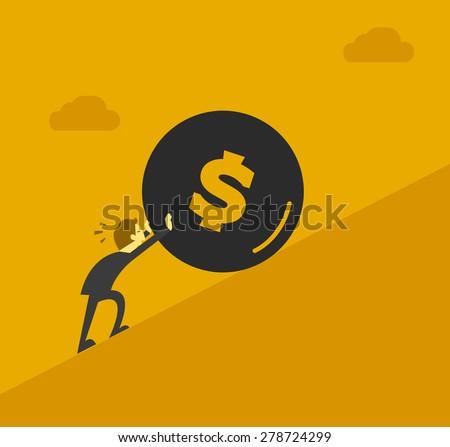 businessman pushing money uphill - stock vector