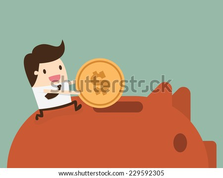 Businessman putting coin into piggy bank - stock vector