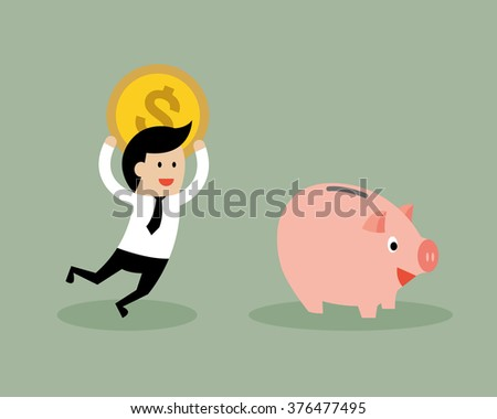 Businessman putting coin into piggy bank. Business and finance concept.