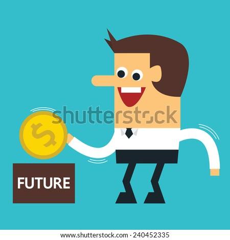 Businessman putting coin into piggy bank , Vector EPS10 - stock vector