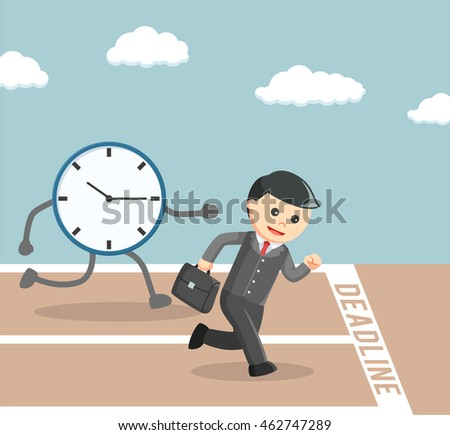 businessman race againts to the deadline