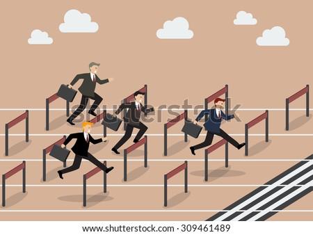 Businessman race hurdle competition. Business concept - stock vector
